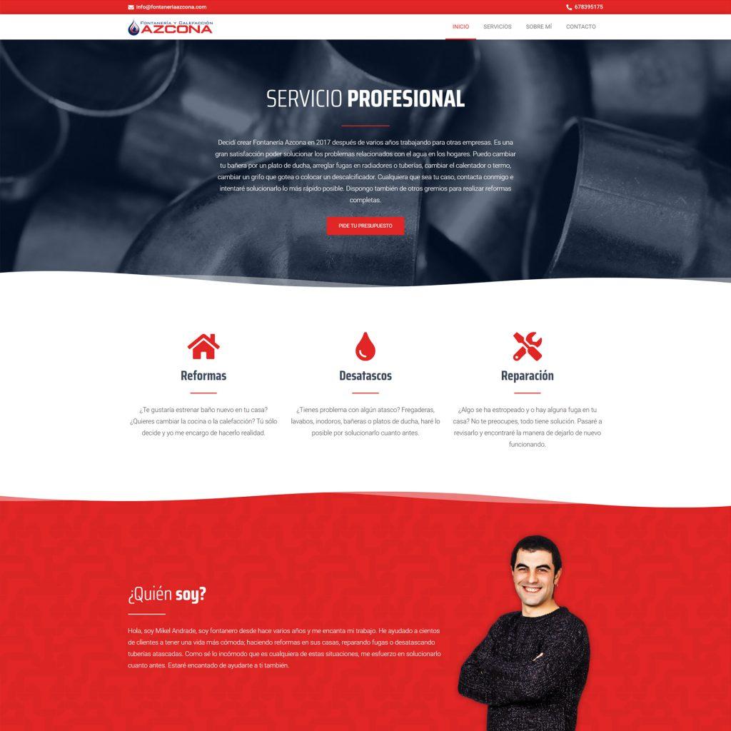Diseño Web - Fontanería y Calefacción Azcona   Cube4